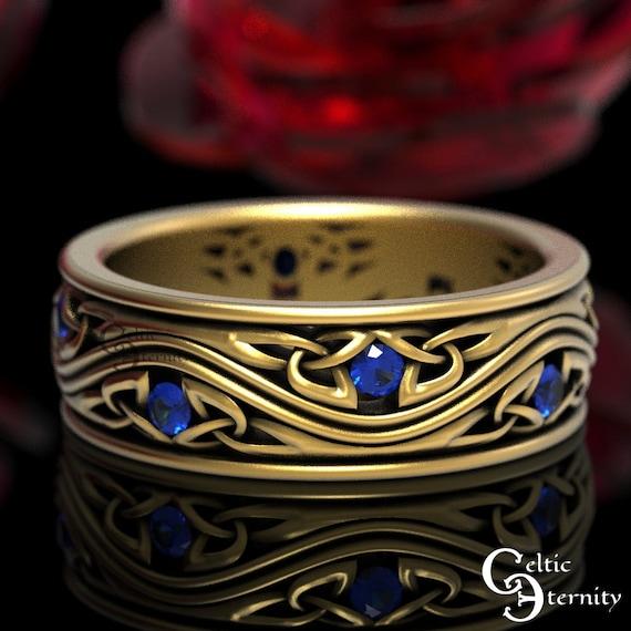 Sapphire & Gold Wedding Ring, Celtic Wedding Band, Platinum Wedding Ring, Sapphire Celtic Ring, Mens Gold Wedding Band 10K 14K 18K, 1463