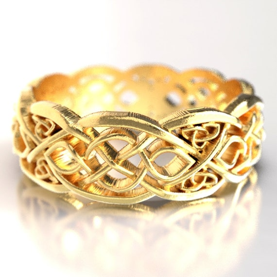 Gold Celtic Wedding Ring With Cut-Through Infinity Symbol Pattern & Trinity Knots in 10K 14K 18K or Palladium, Made in Your Size Cr-1052