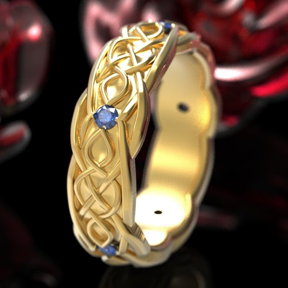 Gold Celtic Wedding Ring With Infinity Symbol Pattern & Blue Sapphire Stones in 10K 14K 18K or Platinum, Made in Your Size Cr-1050
