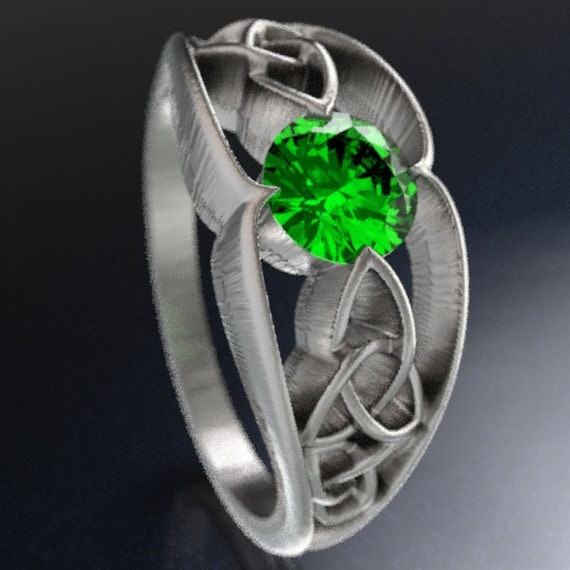 Celtic Trinity Knot Design Ring With Emerald Stone in Sterling Silver, 10K 14K 18K Gold, Palladium, or Platinum Made in Your Size CR-1048