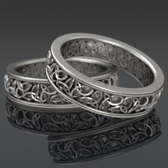 Set of Celtic Wedding Rings With Cut-Through Trinity Knot Design in Sterling Silver, Made in Your Size CR-617