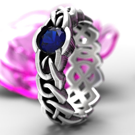 Celtic Cut-Through Quaternary Knot Design Ring Sapphire in Sterling SIlver, 10K 14K 18K Platinum, or Palladium, Made in Your Size Cr-1066c