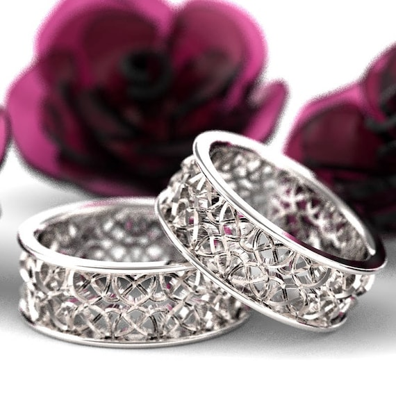Celtic Wedding Ring Set With Mirrored Dara Knotwork Design in Sterling Silver, Made in Your Size CR-639