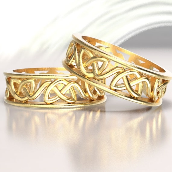 Celtic Wedding Ring Set With Dara Cut-Through Knotwork Design in 10K 14K or 18K Gold, Palladium or Platinum Made in Your Size CR-228