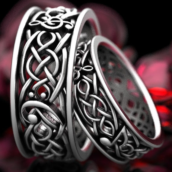 Musical Celtic Wedding Ring Set Infinity Symbol Pattern in Sterling Silver, Music Notes Ring, Musical Ring Set, Made in Your Size 1208
