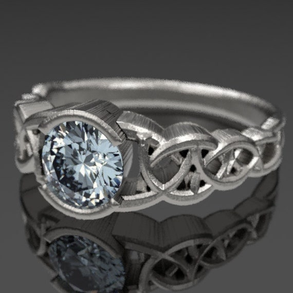 Celtic Wedding Ring With Moissanite and Dara Knotwork Design in Sterling Silver, Made in Your Size CR-430