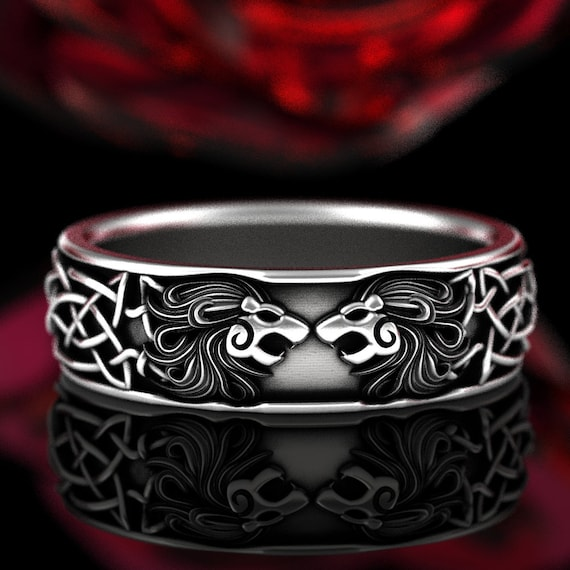 Sterling Silver Celtic Lion Ring, Infinity Knot Wedding Band, Solid 925 Silver Roaring Lion Ring, Animal Jewelry, Handmade in Your Size 1369