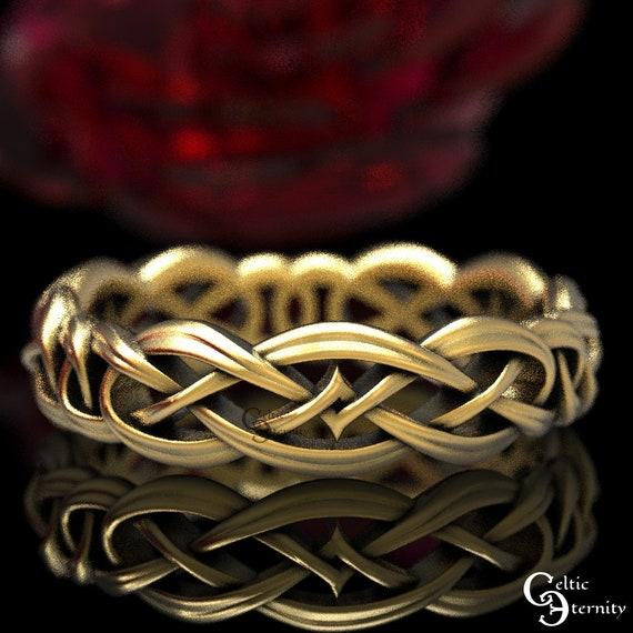 Celtic Forever Band in Gold, Celtic Wedding Ring, 10K 14K 18K Gold Platinum, Celtic Knot Ring, Unique Wedding Band, Eternity Ring, 1403