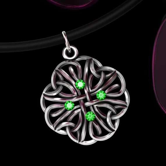 Celtic Sterling Silver Gemstone Pendant Trinity Knot, Choose Your Stones, Emerald, Ruby, Sapphire or CZ, Silver Celtic Knot Pendant 74