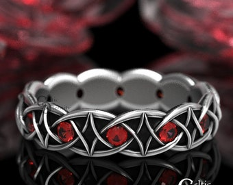 Ruby Celtic Wedding Band in Sterling, Modern Viking Ring, Diamond Weave Ring, Rubies Infinity Band, Unique Ruby Red Wedding Ring, 1036