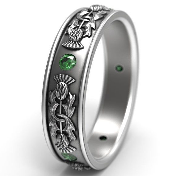 Thistle Ring Band with round Emerald stones, 925 Sterling Silver Scottish Ring, Unique Rings for Her, Botanical Jewelry, Custom Size 5073
