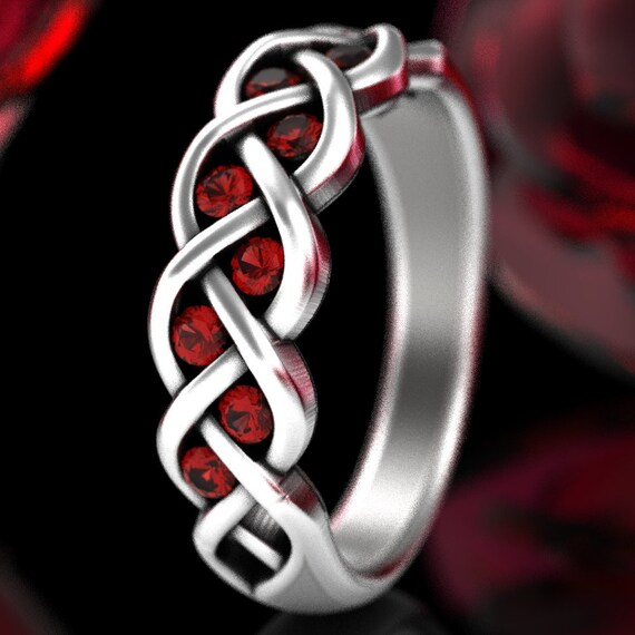 Celtic Wedding Ruby Ring With Braided Knot Design in Sterling, Celtic Knot Ring in 10K 14K 18K Gold or Platinum Made in Your Size CR-1005