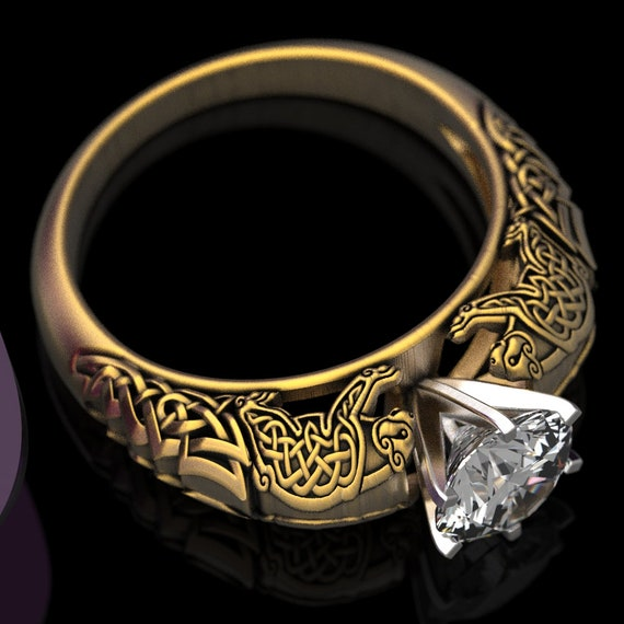 Gold Celtic Bear Solitaire 1Ct Moissanite Ring, Celtic Bear Engagement Ring, Irish Wedding Ring, 10K 14K 18K Gold, Platinum Custom Size 6009