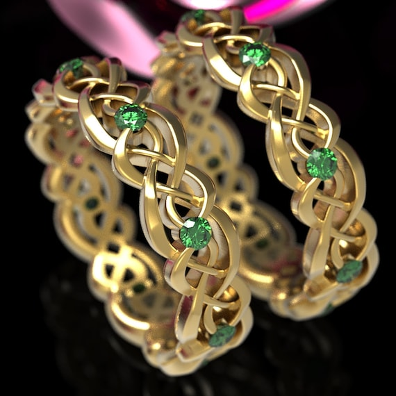 Eternity Celtic Infinity Wedding Set with Emeralds in Sterling Silver, 10K 14K 18K Gold or Platinum  Made in your size CR-1044