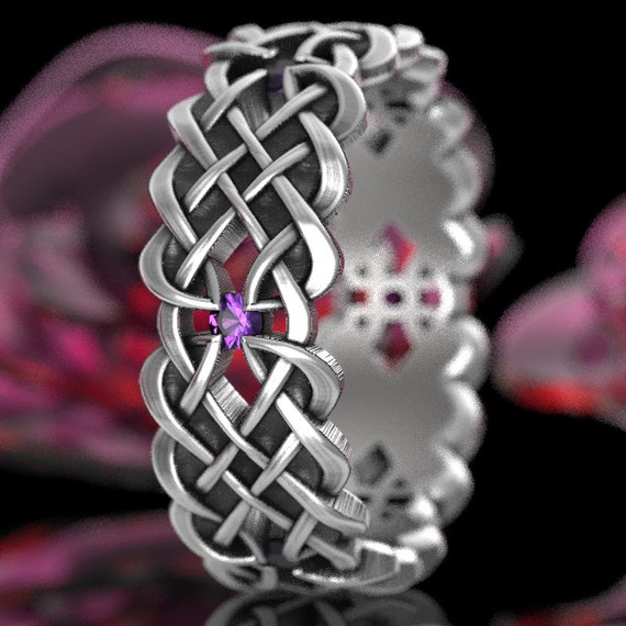 Celtic Wedding Band With Dara Knot Design With Amethyst Stones in Sterling Silver, Made in Your Size CR-1043