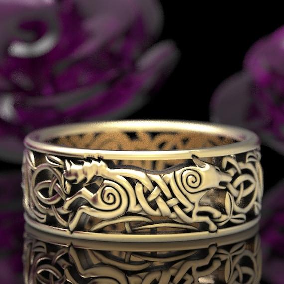 Celtic Wolf Ring, Wolf Knot Celtic Wedding Ring, Wolf Wedding Band, Norse Wolf Ring, Viking Wolf Ring, Gold 10K 14K 18K or Platinum 1298