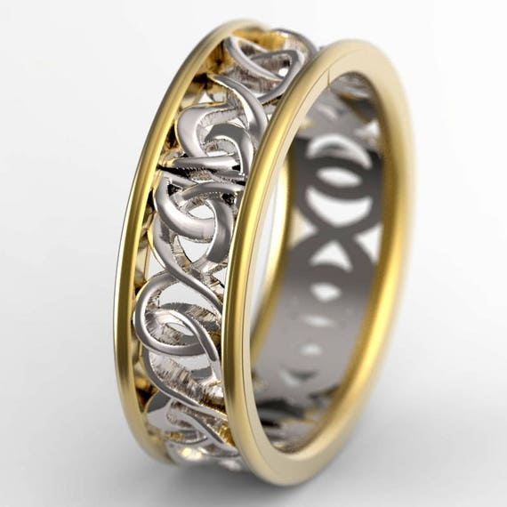 Celtic Knot Bi Color Gold Ring With Woven Dara Knotwork Design in 10K Gold, Wedding Ring Made in Your Size CR-5006