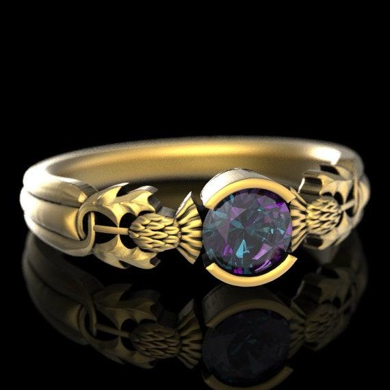 Thistle Engagement Ring, Gold & Alexandrite Solitaire, Scottish Wedding, Scottish Engagement Ring, Alexandrite Engagement Ring 5062