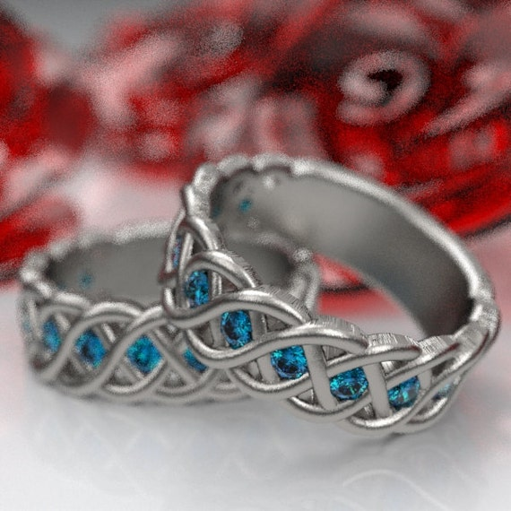 Celtic Wedding Ring Set with Blue Sapphires in 4 Cord Braided Knot in Sterling, 10K 14K 18K, Palladium or Platinum Made in Your Size CR-1008