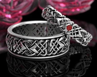 Celtic Heart Knot Ruby Wedding Ring Set, Sterling Heart Wedding Rings, His & Hers Celtic Ring Set, Unique Ruby Wedding Bands 1361 + 1362