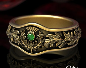 Scottish Thistle Ring, Emerald & Gold Wedding Band, Gold Thistle Ring, Thistle Wedding Band, Gold Wedding Band, Platinum Wedding Ring, 5043