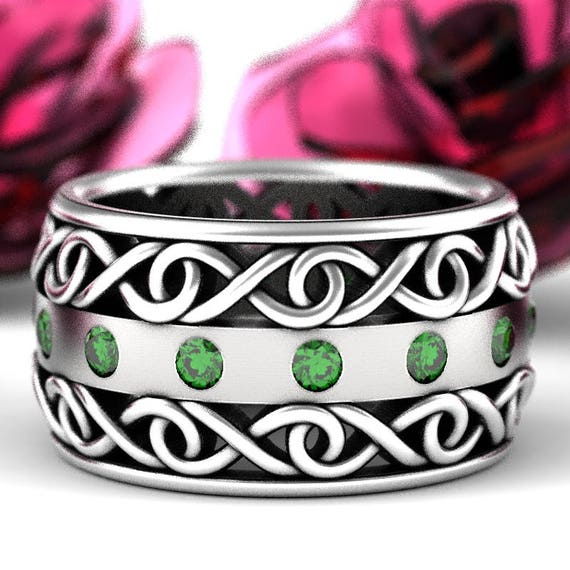 Celtic Wedding Ring With Emerald and Cut-Through Infinity Symbol Design in Sterling Silver, Made in Your Size CR-510