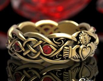 Gold Claddagh Ring with Rubies, Modern Claddagh Wedding Ring, Celtic Gold Wedding Band, Irish Love Ring, Platinum Claddagh Ring, 1052