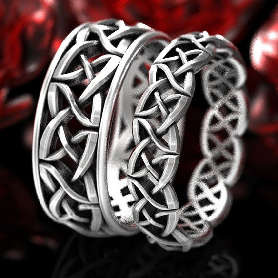 His & Hers Wedding Ring Set, Celtic Woven Wedding Ring Set in Sterling Silver, Matching His and Hers Wedding Bands, Celtic Wedding 1073 1332