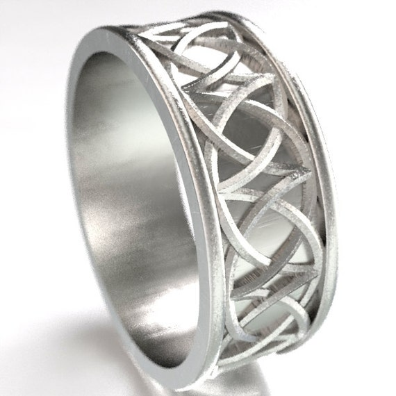 Celtic Wedding Ring With Mirrored Arches Knotwork Design in Sterling Silver, Made in Your Size CR-109