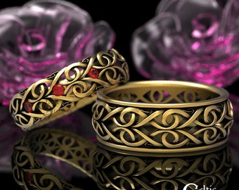 Gold Celtic Wedding Set with Ruby, Platinum Wedding Bands, Matching Gold Rings, His Hers Gold Wedding Band, Infinity Wedding Band 1421+1422