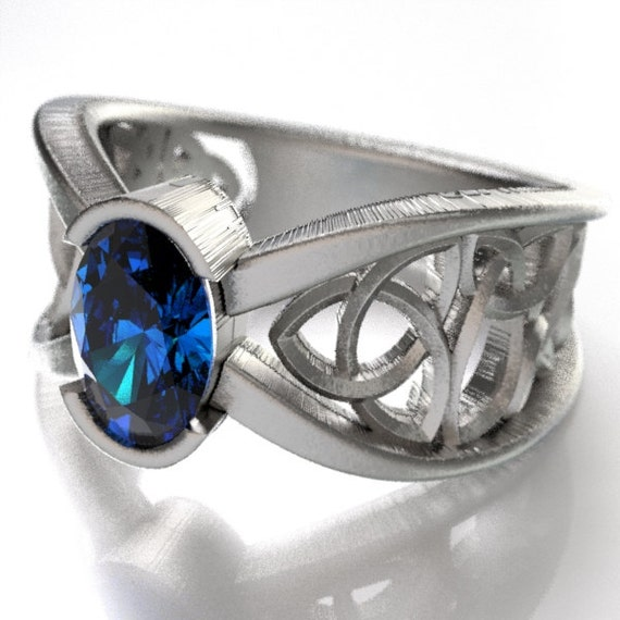 Celtic Wedding Ring With Blue Sapphire and Trinity Knotwork Design in Sterling, 10K 14K 18K Palladium or Platinum Made in Your Size CR-1023