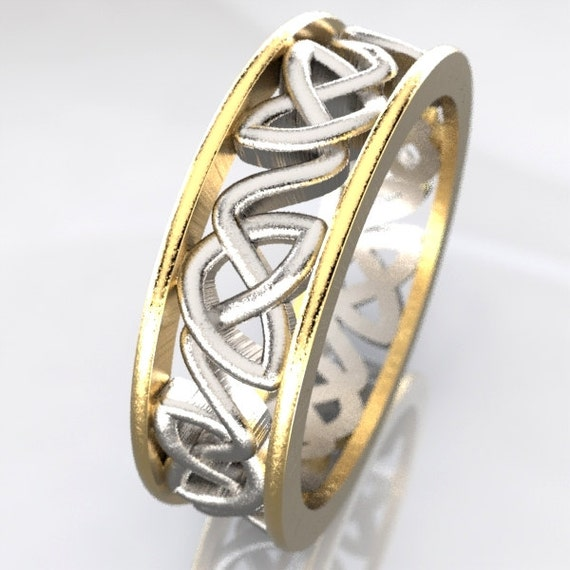 2-Tone Gold and Silver Celtic Wedding Ring With Dara Knotwork Design in 10K 14K 18K gold, Palladium or Platinum, Made in Your Size CR-228