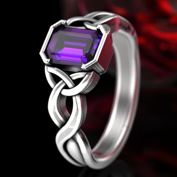 Celtic Emerald Cut Amethyst, Engagement Ring With Trinity Knot Design in Sterling Silver, Celtic Knot Solitaire, Purple Amethyst Ring 405