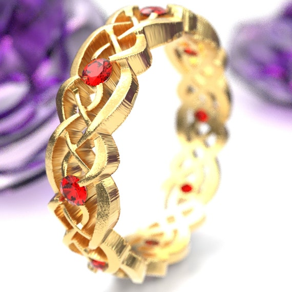 Gold Celtic Wedding Ring With Rubies, Infinity Band, Eternity Diamond Ring in 10K 14K 18K Palladium or Platinum, Custom Size 1044