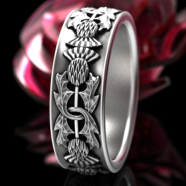 Thistle Ring 925 Sterling Silver Scottish Ring Unique Rings image 0
