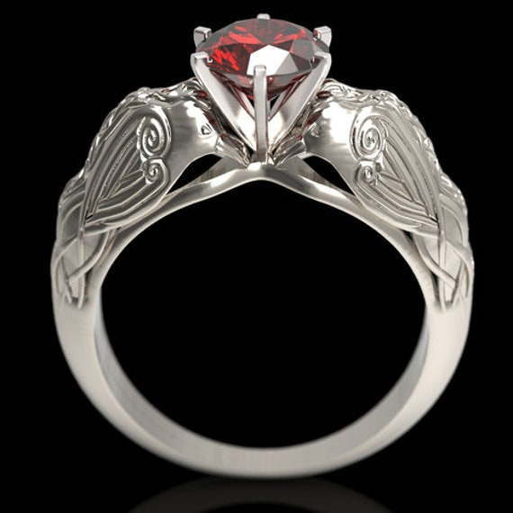 RESERVED FOR WOLFSOLUTIONS   custom order  18K White Gold Celtic Raven Solitaire 1Ct Natural Ruby Ring (6008)