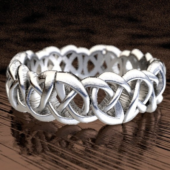 Celtic Wedding Ring With Celtic Knots in Sterling Silver, Made in Your Size CR-116
