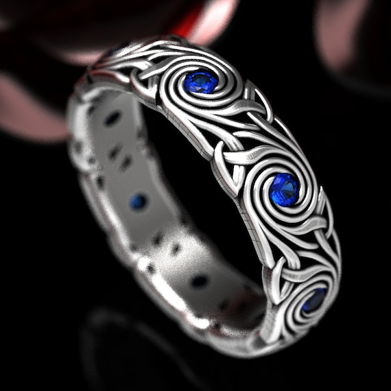 Celtic Knot Ring, Swirl Sapphire Wedding Band, Celtic Trinity Triskele Sapphire Wedding Ring, Custom Made Sterling Celtic Wedding Ring 1289