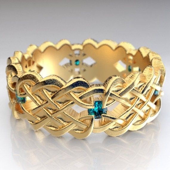 Gold Celtic Wedding Ring With Dara Knot Design & Blue Sapphire Stones in 10K 14K 18K or Palladium, Made in Your Size Cr-1043
