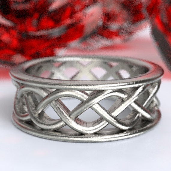 Celtic Wedding Ring With 3 Cord Braided Knotwork Encased in Rails Design in Sterling Silver, Made in Your Size CR-271