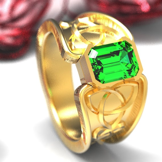 Celtic Emerald Ring With Trinity Knot Band Ring Design in 10K 14K 18K Gold, Palladium or Platinum, Made in Your Size CR-17e