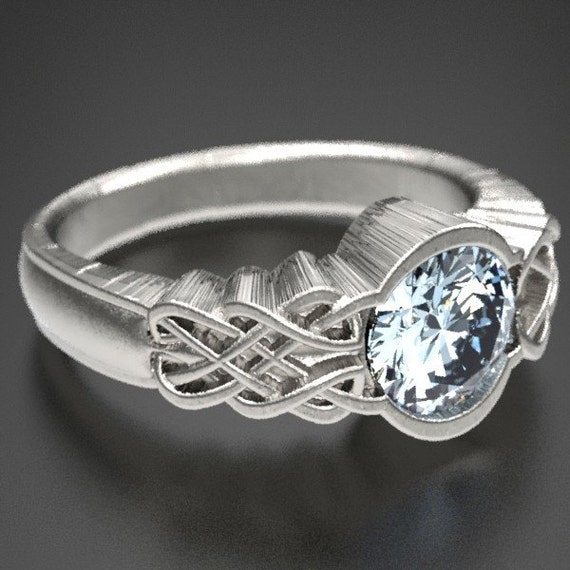 Celtic Engagement Ring Moissanite, 925 Sterling Silver Celtic Knot Ring, Moissanite Ring, Unique Rings for Her, Made in Your Size CR-1032