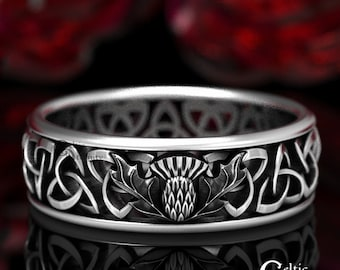 Sterling Silver Thistle Ring, Celtic Wedding Band, Thistle Wedding Ring, Silver Irish Wedding Ring, Sterling Trinity Knot Ring, 1492