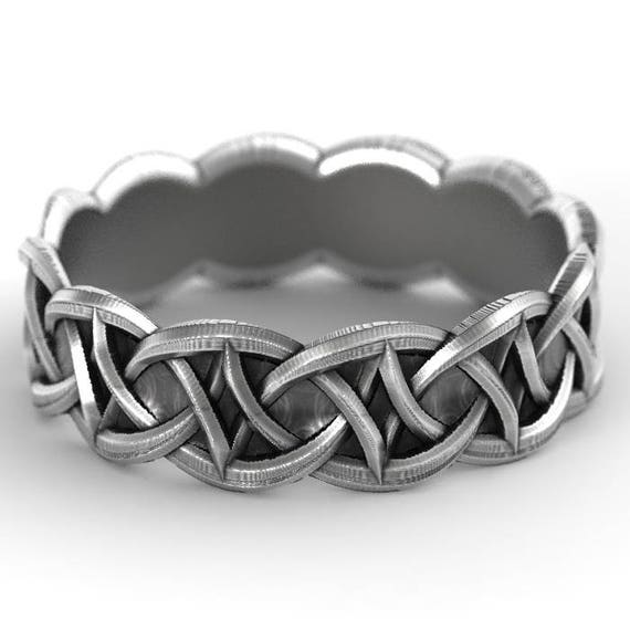 Celtic Wedding Band with Celtic Knotwork Design in Sterling Silver, Made in Your Size CR-1035