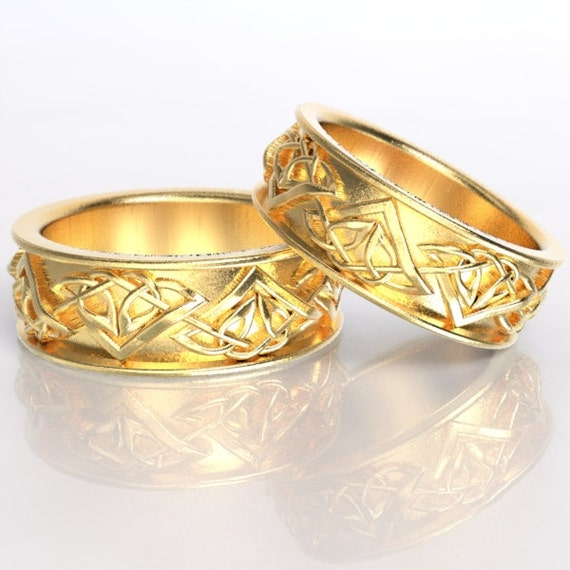 Set of Celtic Wedding Rings With Tribal Triangle Knot Design in 10K 14K 18K Gold, Palladium, Platinum, Made in Your Size CR-1122