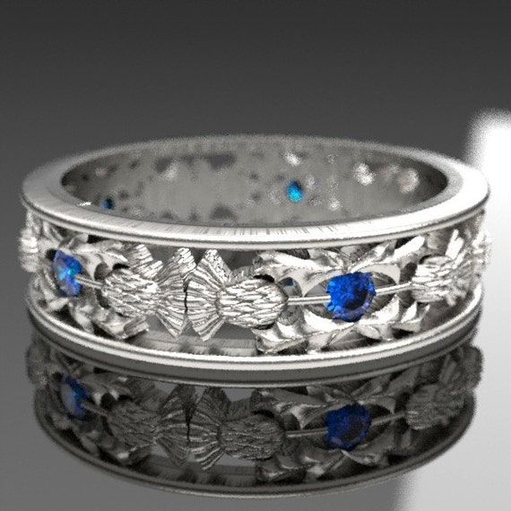 Platinum Thistle Ring With Sapphires Scottish Ring, Unique Rings for Her, Botanical Jewelry, Handcrafted Rings, 5056