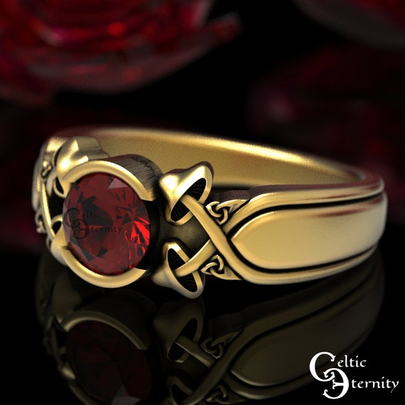 Mushroom Ruby & Gold Wedding Ring, Gold Celtic Ring, Botanical Wedding Band, Pagan Wedding, Platinum Wedding Ring, Ruby Gold Ring, 1486