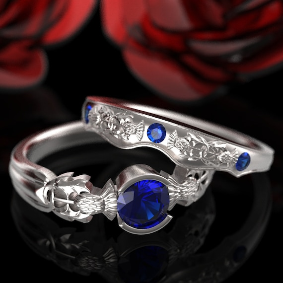 Thistle Engagement Ring Set, Sterling Silver Sapphire Ring, Scottish Solitare, Handcrafted Rings, Alternative Engagement Ring 5062