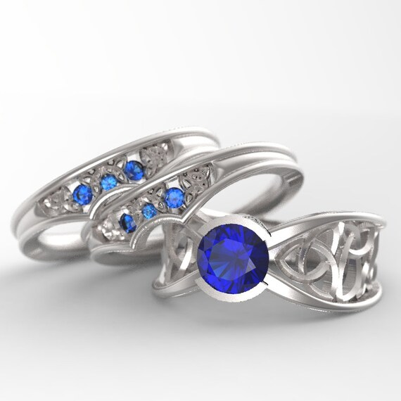 Celtic Blue Sapphire Engagement Ring With Matching Trinity Knot Bands in Sterling Silver, Made in Your Size CR-1026