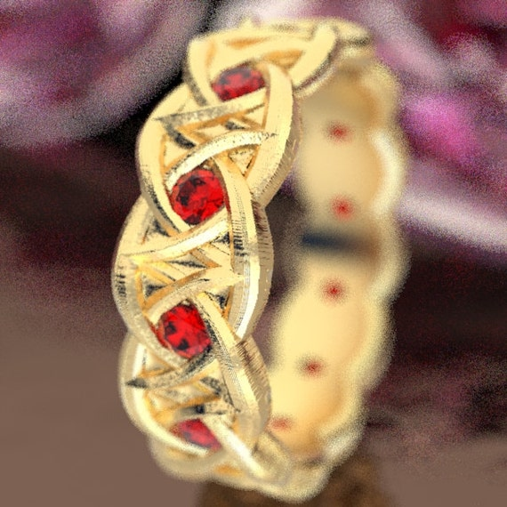 Gold Celtic Wedding Ring With Dara Knot Design & Ruby Stones in 10K 14K 18K or Palladium, Made in Your Size Cr-1036
